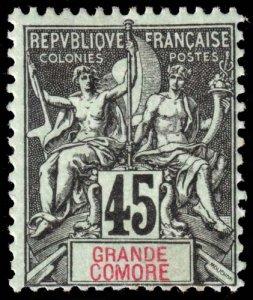 Grand Comoro - Scott 15 - Mint-Hinged - Poor Centering - Ink Mark on Back