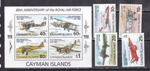 Cayman Islands 1998 military war aviation airships planes set+s/s MNH