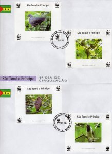 Sao Tome and Principe 2005 WWF/Birds 4 S/S Plain  Border IMPERFORATED 2 FDC