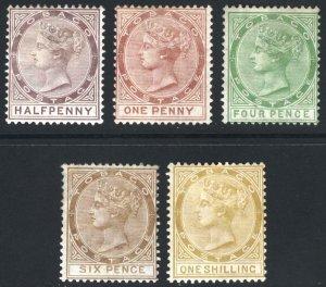 Tobago 1880 1/2d-1s WMK Crown CC SG 8-12 Scott 8-12 MM/MH Cat £995($1,283)