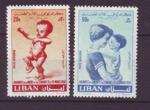 J24029 JLstamps 1960 lebanon set mh #c291-2 children