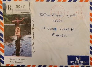 O) 1975 NEW CALEDONIA, METER STAMP, ILE DE LUMIERE PHOTO. LANDSCAPE,  TO FINLAND
