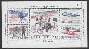 Sweden #1516 s/sheet of 5, F-VF Mint Hinged * Swedish Aviation History