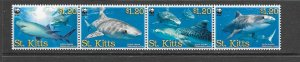 FISH - ST KITTS #678 (B)  TIGER SHARKS  WWF  MNH