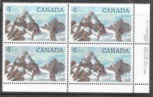 Canada 934iii: $1 Glacier National Park, Plate Block, MNH, VF
