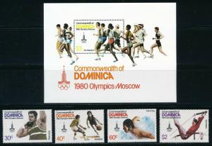 Dominica - Moscow Olympic Games Sports Set MNH (1980)