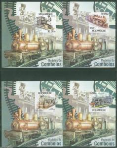 MOZAMBIQUE  SET OF FOUR LOCOMOTIVES  TRAIN SOUVENIR SHEETS MINT NH