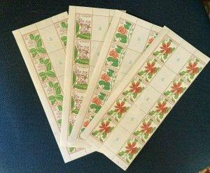 1981 Kiribati 365-368 Gutter Strips,     MNH. Flowers   Gutter strip of 10