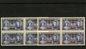 NEWFOUNDLAND 1939 KGV and QE Design Surcharge Values in Blocks of 4 sg2 M Stamps
