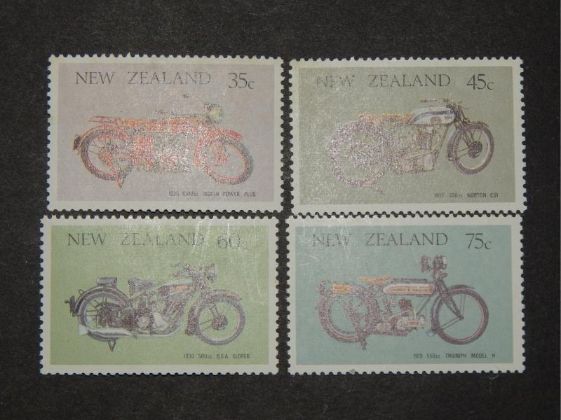 VINTAGE MOTORCYCLES 1986 NEW ZEALAND SET OF FOUR MNH