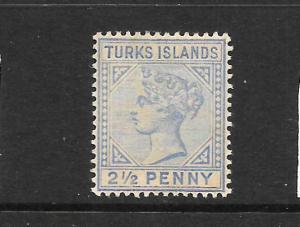 TURKS ISLANDS  1889-93   2 1/2d   QV  MH    SG 65