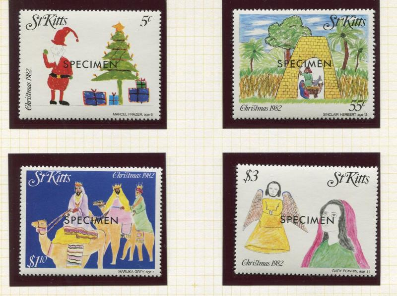 St Kitts - Scott 102-105 -Christmas Drawings -1982 - MNH - Set of 4 Stamps