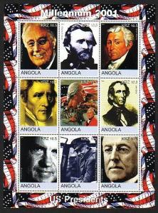 Angola, 2001 Cinderella issue. U.S.A. Presidents sheet of 9.