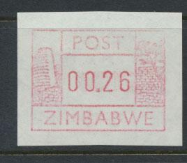 Zimbabwe Machine Label 26p Mint Never Hinged