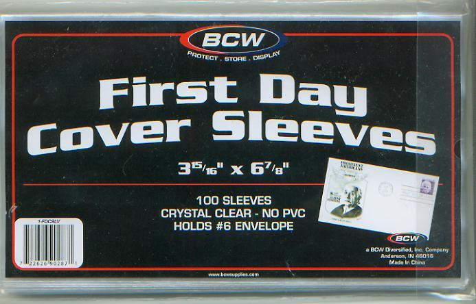 First Day Cover Sleeves, Pkg 100, 01704