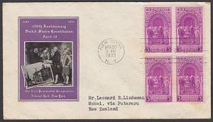 USA 1939 3c Washington's Inauguration FDC to New Zealand -  backstamped....55620