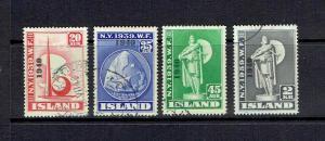 ICELAND - 1940 NEW YORK WORLD'S FAIR OVERPRINTS - SCOTT 232 TO 235 - USED