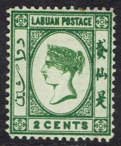 LABUAN 1883 QV 2C WMK CROWN CA REVERSED