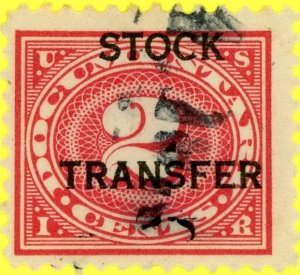 #RD2 – 1918-22 2c Stock Transfer Stamp.  Used.  Centering poor.