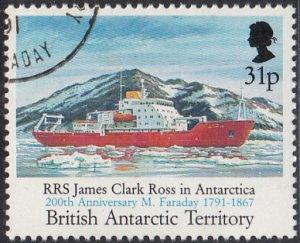 British Antarctic Territory 1991 used Sc #190 31p RRS James Clark Ross Farada...