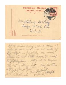 Mexico 1939 Ciudad Victoria Cancel 4c Postal Stationery Card to US Hiking Trip
