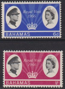 1966 Bahamas QE Royal Visitcomplete set MNH Sc# 228 / 229 CV $3.05