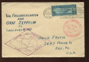 C15 Graf Zeppelin Used Stamp on Nice Round Trip Flight Cover (C15-Cover 13)