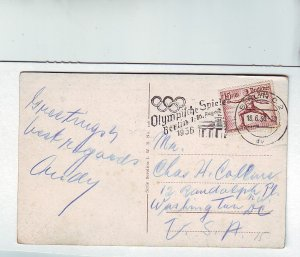 Z625 1936 used postcard nazi germany olympic cancel & stamp to washington D.C.