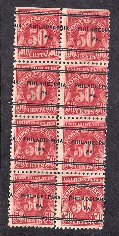 J76 Used... Block of 8... Pre-cancel... SCV $16.00