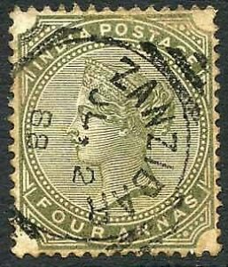 Zanzibar SGZ69 4a Olive-green Z5 Squared Circle dated 2nd July 1888