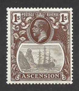 Doyle's_Stamps: MH 1924 British Ascension 1 Shilling KGV Scott  #19* VF