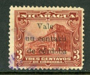 Nicaragua 1918 Cathedral Provisional 1/3¢ Scott 372v UU VFU M480