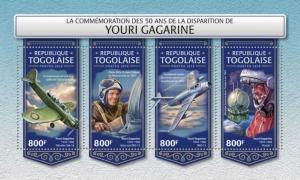 Togo - 2018 Cosmonaut Yuri Gagarin - 4 Stamp Sheet - TG18220a
