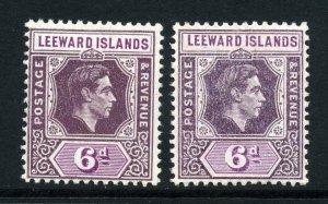 Leeward Islands 1938 KGVI 6d x2 shades mint