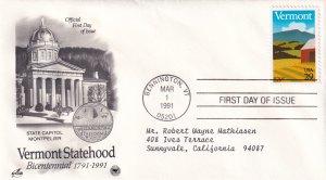 1991, Bicentennial Vermont Statehood, Art Craft/PCS, FDC (E12215)