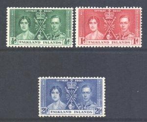 Falkland Is Scott 81/83 - SG143/145, 1937 Coronation Set MH*