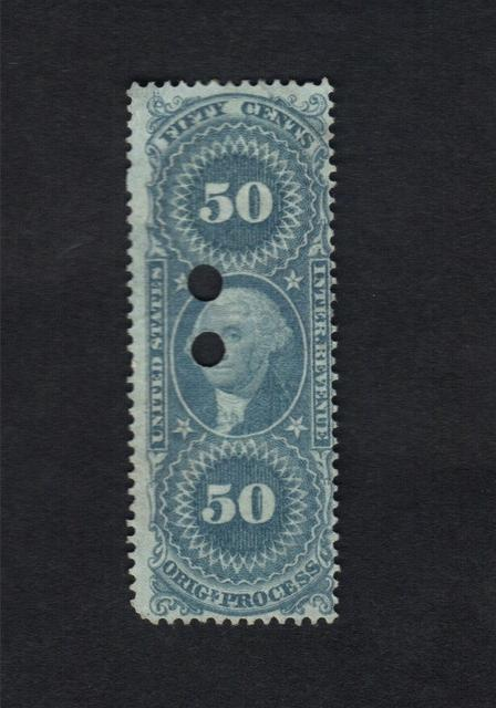 1862-71 US REVENUE SCOTT #R60 ORIG OF PROCESS WASHINGTON 50 CENT BLUE