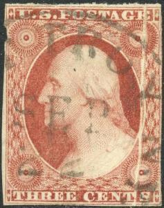 #10 VAR. USED 3¢ WASHINGTON WITH PRE-PRINT FOLD ERROR BN9609