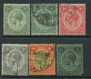 STAMP STATION PERTH Nyasaland #12-14,17,19 KGV 1913 Mint/Used Wmk 3 CV$17.00.
