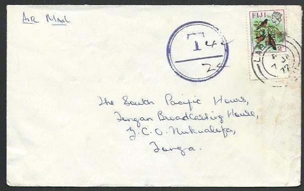 FIJI 1972 airmail cover to Tonga - LABASA cds, Tax Marking.................61762