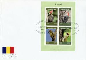 Chad 2019 FDC Woodpeckers Green Woodpecker 4v M/S Cover Pivert Birds Stamps