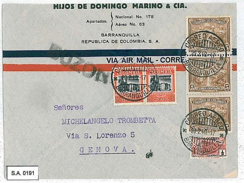 COLOMBIA - POSTAL HISTORY  -  AIRMAIL COVER to ITALY 1940