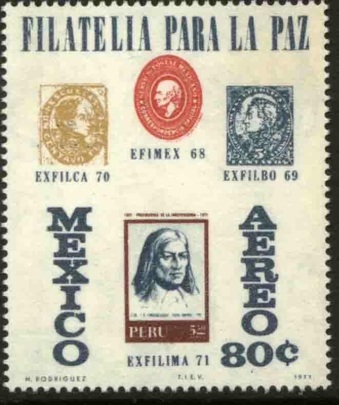 MEXICO C391, Exfilima71 Philatelic Exhibition, Lima, Peru. MINT, NH. F-VF.
