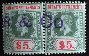 Malaya Straits Settlements 1918 KGV $5 pair MCCA Used SG#212b M2047