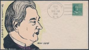 #818 MAE WEIGAND FDC HANDPAINTED CACHET MILLARD FILLMORE BS1893