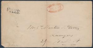 STAMPLESS COVER NYC USAGE W/ LOCAL ON REVERSE & EXPRESS POST HAND STAMP BS2361