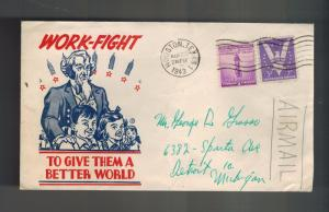 1943 Houston Texas to Detroit Michigan USA Airmail Illustrated Patriotic Cover