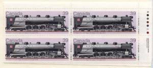 Canada USC #1120 Mint MS Imprint Blocks VF-NH Cat. $23. 1986 34c Locomotives