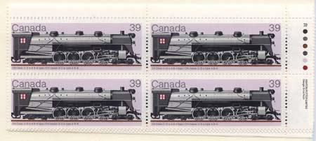 Canada USC #1120 Mint MS Imprint Blocks VF-NH Cat. $23. 1986 34c Locomotives