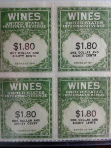 SCOTT # RE 152 MINT NEVER HINGED BLOCK OF 4 GEMS NGAI TWO LINES WINE STAMPS